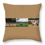 Baseball Playing Hard 3 Panel Composite 01 Throw Pillow