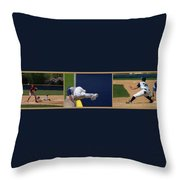 Baseball Playing Hard 3 Panel Composite 02 Throw Pillow