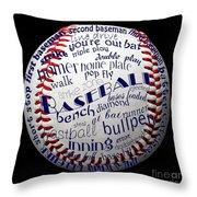 Baseball Terms Typography 1 Throw Pillow