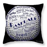 Baseball Terms Typography 2 Throw Pillow