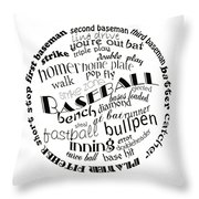Baseball Terms Typography Black And White Throw Pillow