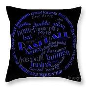 Baseball Terms Typography Blue On Black Throw Pillow