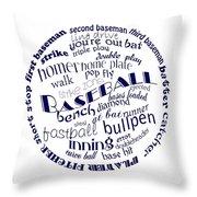 Baseball Terms Typography Blue On White Throw Pillow