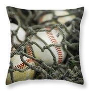 Baseballs And Net Throw Pillow