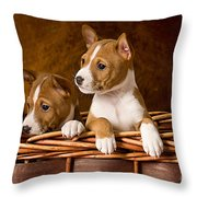 Basenji Puppies Throw Pillow by Marvin Blaine