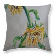 Bashful Sunflower Throw Pillow