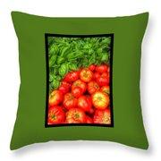 Basil Tomato Throw Pillow