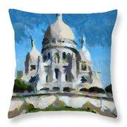 Basilica Sacred Heart- Paris Throw Pillow