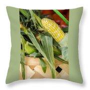Basket Farmers Market Corn Throw Pillow