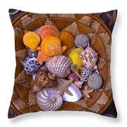 Basket Full Of Seashells Throw Pillow