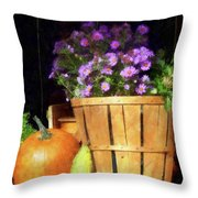 Basket Of Asters With Pumpkin And Gourd Throw Pillow