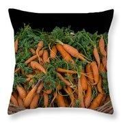 Basket Of Carrots Throw Pillow