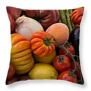 Basket Of Fruits And Vegetables Throw Pillow