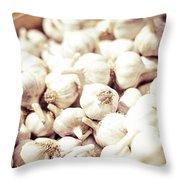 Basket Of Garlic Throw Pillow