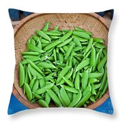 Basket Of Organic Fresh Sugar Snap Peas Art Prints Throw Pillow