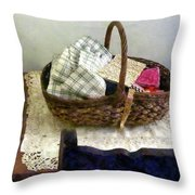Basket With Cloth And Measuring Tape Throw Pillow