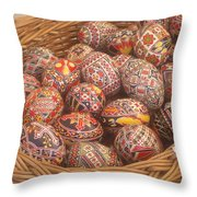 Basket With Easter Eggs Throw Pillow