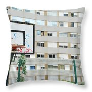 Basketball Court In A Social Neighbourhood Throw Pillow