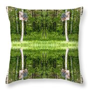 Basketball Forest Court Reflection 1 Throw Pillow