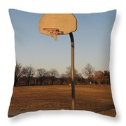 Basketball Goal At Sandy Point Throw Pillow