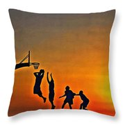 Basketball Sunrise Throw Pillow