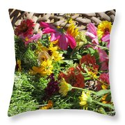 Basketful Of Flowers Throw Pillow
