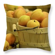 Baskets Of Apricots Squared Throw Pillow by Julie Palencia