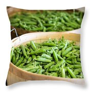 Baskets Of Fresh Picked Peas Throw Pillow by Edward Fielding