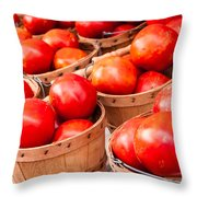 Baskets Of Tomatoes At A Farmers Market Throw Pillow by Teri Virbickis