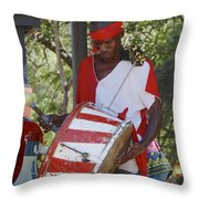 Bass Drummer Labadee Haiti Throw Pillow
