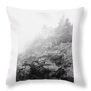 Bass Harbor Head Light In Fog Throw Pillow