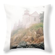 Bass Harbor In Fog - Vertical Throw Pillow