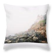 Bass Harbor In Fog Throw Pillow