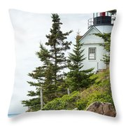 Bass Harbor Light Station Overlooking The Bay Throw Pillow