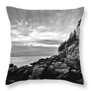 Bass Harbor Lighthouse At Dusk Throw Pillow