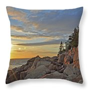 Bass Harbor Lighthouse Sunset Landscape Throw Pillow