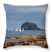 Bass Rock And Sail Boats Throw Pillow