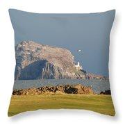 Bass Rock Scotland Throw Pillow