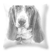 Basset Hound Pencil Portrait Throw Pillow