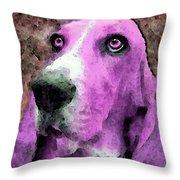 Basset Hound - Pop Art Pink Throw Pillow