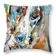 Basset Hound - Watercolor Portrait.1 Throw Pillow