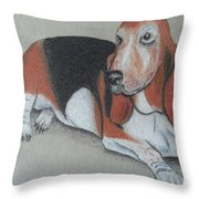 Bassett Puppy Throw Pillow by Steve Jorde