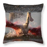 Bath Time - Roseate Spoonbill Throw Pillow
