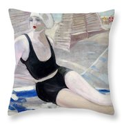 Bather In A Black Swimsuit Throw Pillow