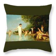Bathers Throw Pillow