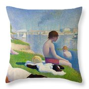 Bathers In Asnieres Throw Pillow