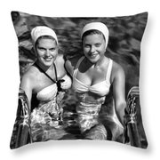 Bathing Beauties Black And White Throw Pillow