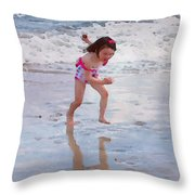 Bathing Beauty Running Throw Pillow