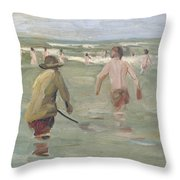 Bathing Boys With Crab Fisherman Throw Pillow