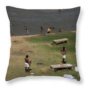 Bathing Ghats Throw Pillow